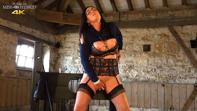 Seamed nylons and stocks miss Hybrid in the Manor dungeon.