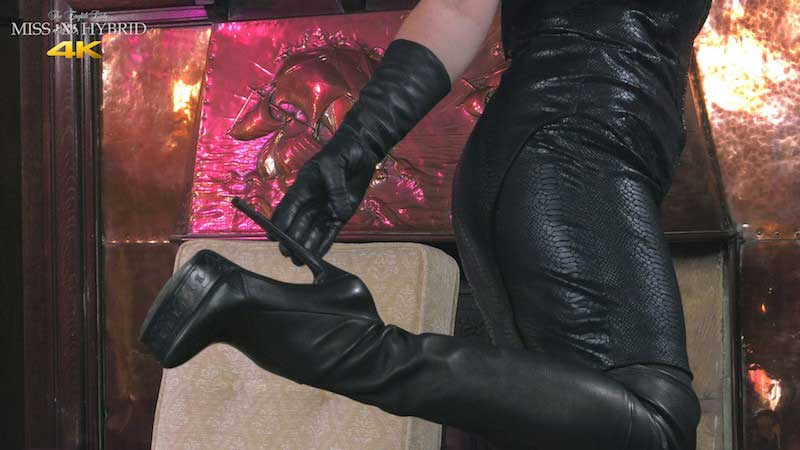 Miss Hybrid long leather gloves, pantyhose and thigh high boots.